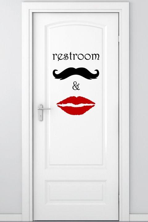 adesivo de porta para banheiro unisex