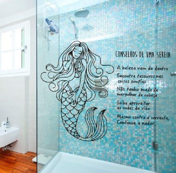 Adesivo para banheiro com frase de sereia