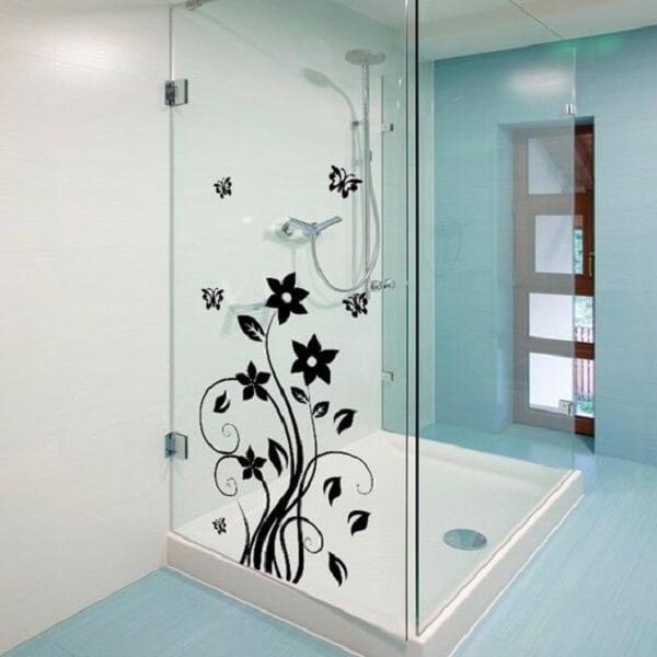 Adesivo para box de banheiro com desenho floral em preto