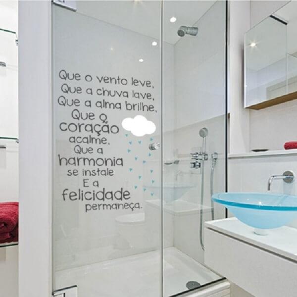Adesivo para box de banheiro com frases inspiradoras