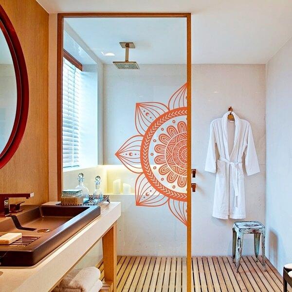Adesivo para box de banheiro com mandala