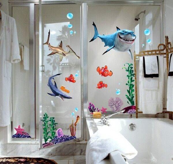 Adesivo para box de banheiro do fundo do mar