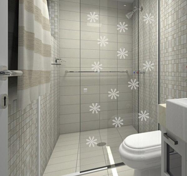 Adesivo para box de banheiro jateado delicado