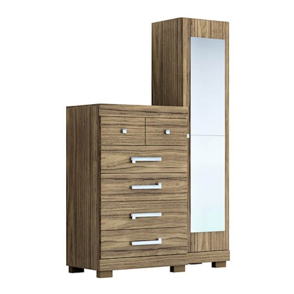 Cômoda com sapateira e espelho traz funcionalidade para o quarto