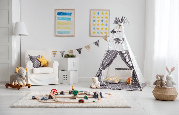 Cabaninha infantil Teepee complementa a decoração do quarto