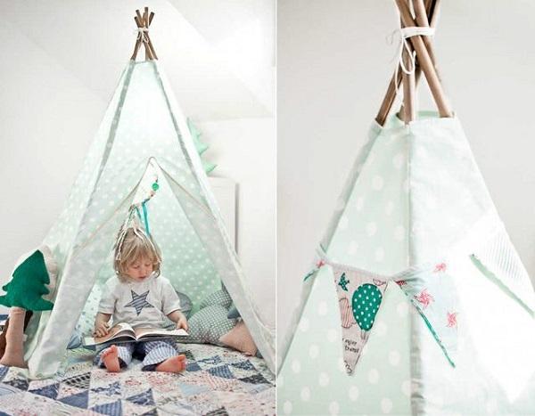 Cabaninha infantil feita com cabo de vassoura