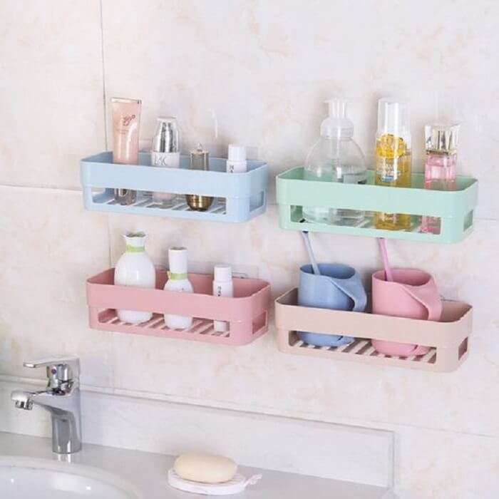 Cores suaves para prateleira para banheiro