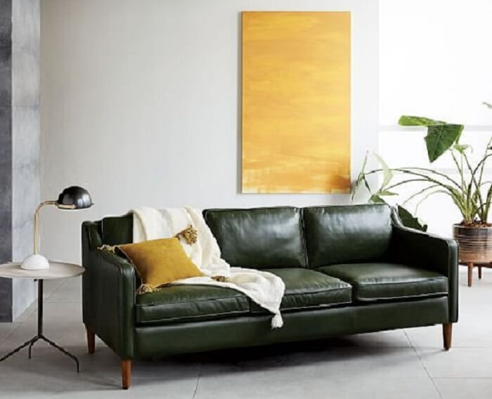 Tecido para sofá de couro decora a sala de estar minimalista