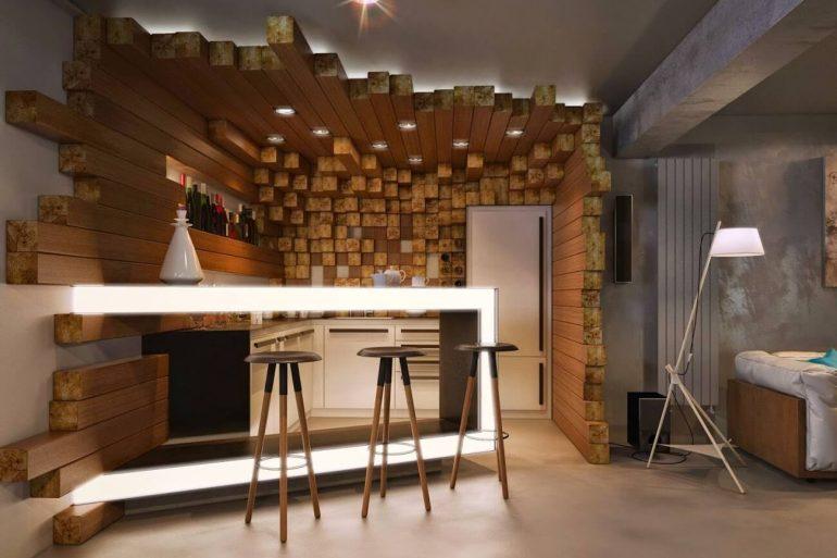 Decoração ousada para o ambiente de barzinho para sala