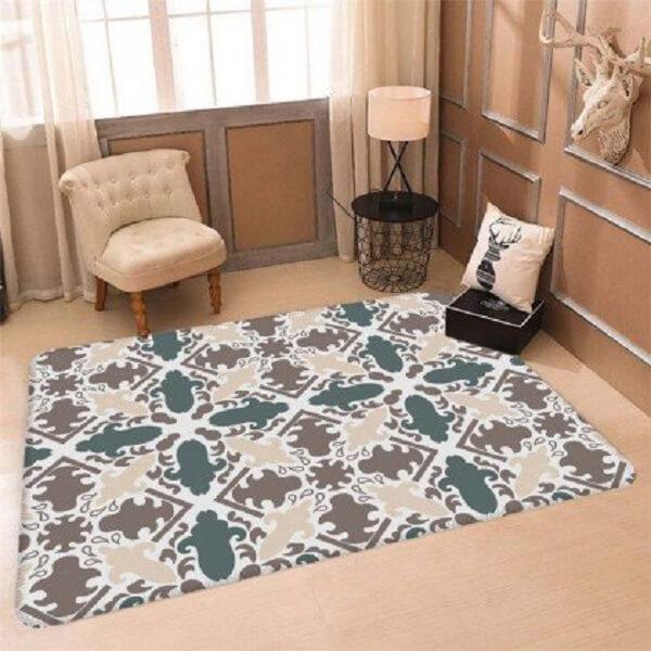 Design sofisticado para esse tapete emborrachado para sala