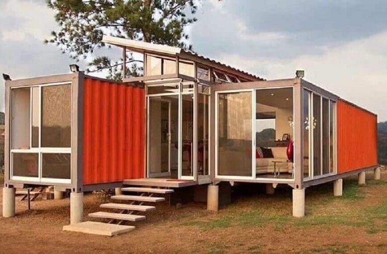 Fachada de casa contêiner