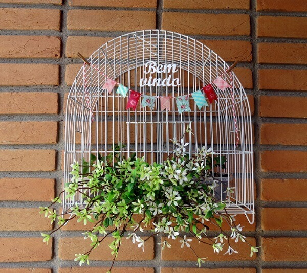 Gaiolas decoradas para entrada de casa