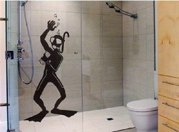 Modelo de adesivo para box de banheiro com desenho criativo