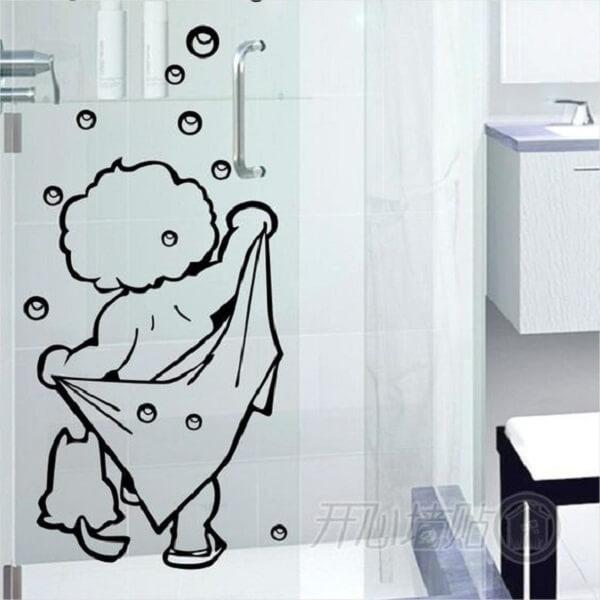 Modelo de adesivo para box de banheiro com desenho divertido e vazado