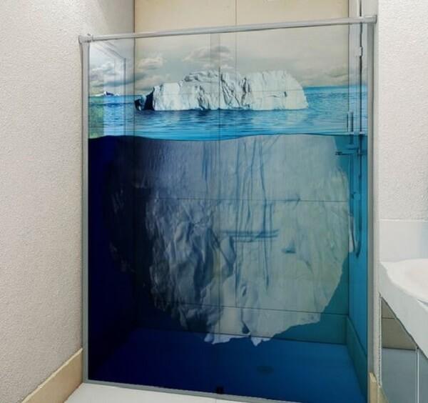 Modelo de adesivo para box de banheiro simulando um Iceberg