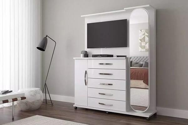 Modelo de cômoda com sapateira e espelho e painel para TV