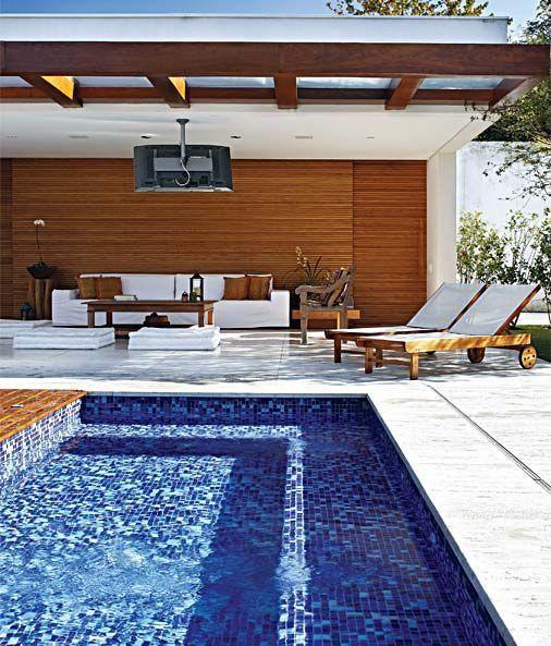 Pastilhas de vidro para piscina azul