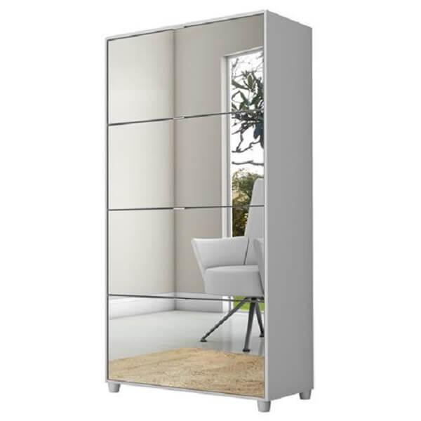 Sapateira com espelho feita com acabamento branco e 4 gavetas