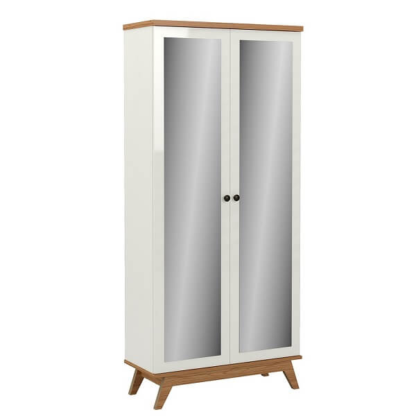 Sapateira com espelho retrô feita com duas portas