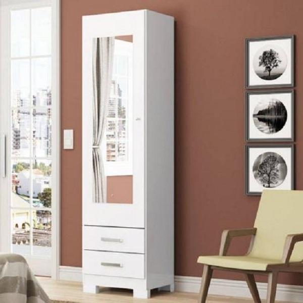 Sapateira com espelho uma porta e duas gavetas com acabamento branco fosco