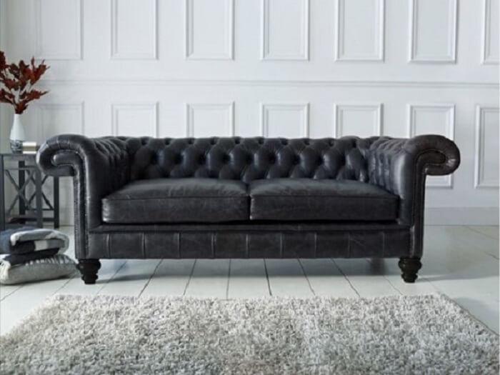 Tecido para sofá de couro preto clássico