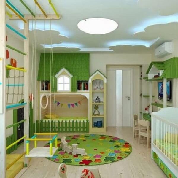 Tapete emborrachado em formato redondo para quarto infantil