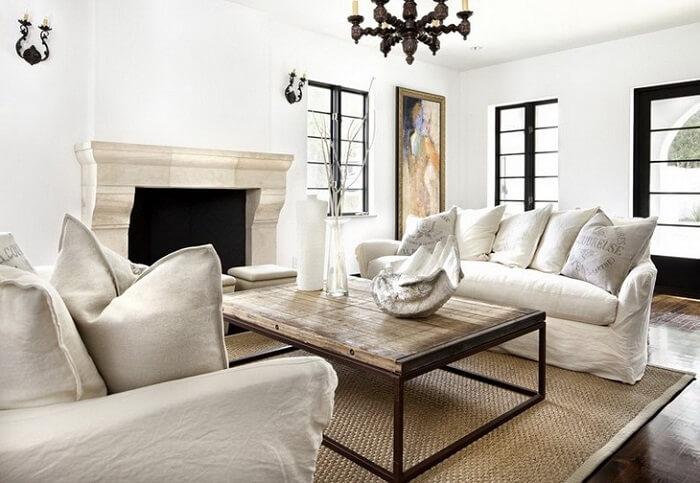 Tecido para sofá de linho branco