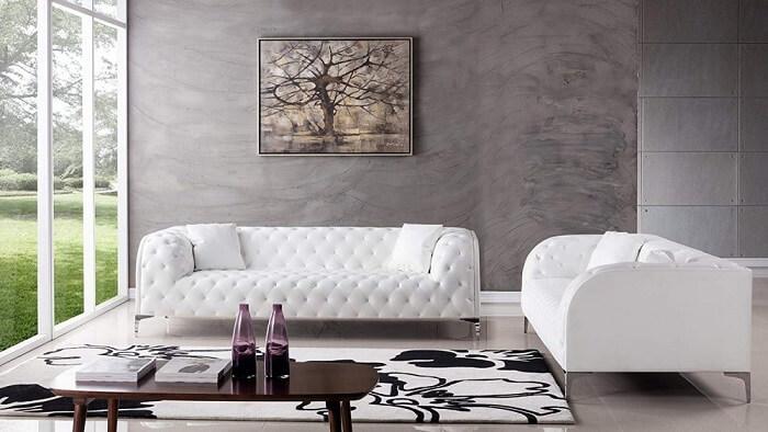 Tecido para sofá de couro branco para decoração minimalista