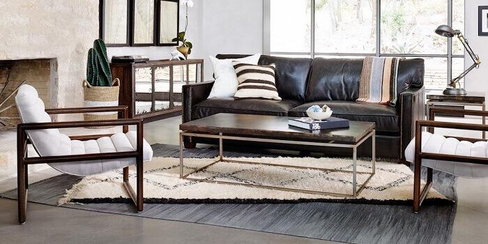 Tecido para sofá de couro preto