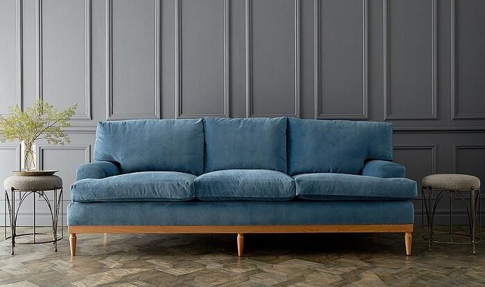 Tecido para sofá de veludo azul