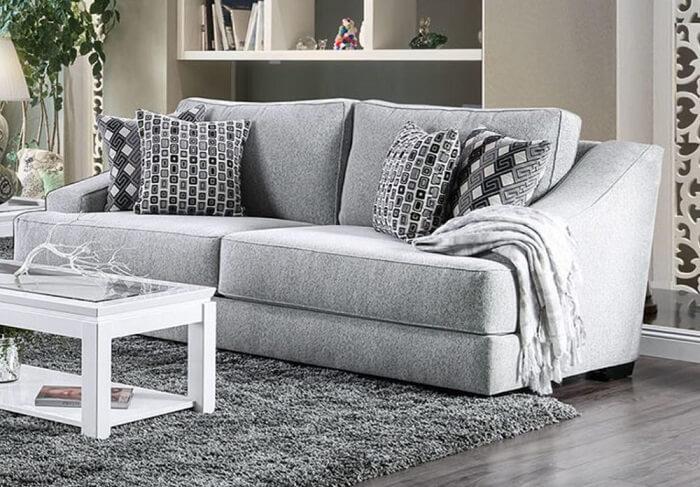 Tecido para sofá chenille cinza claro