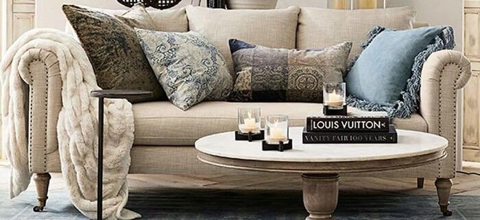 Tecido para sofá de linho cor bege