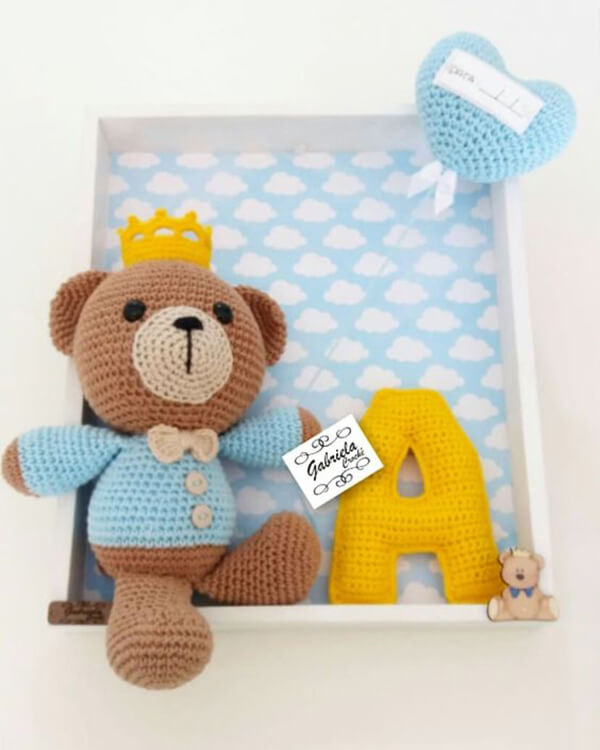 Amigurumi Urso Branco E Rosa Em Crochê Sob Encomenda - R$ 169,99 ... | 750x600