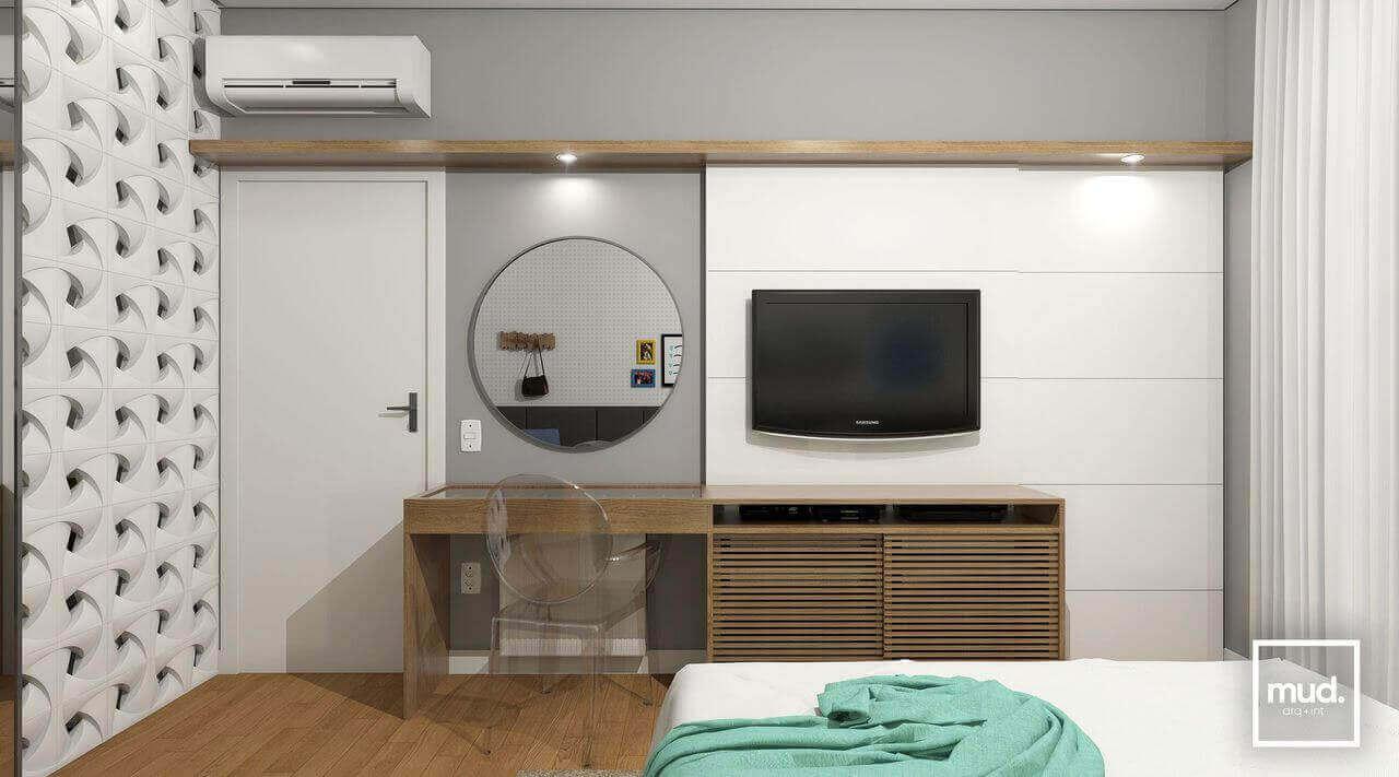 ar condicionado split - quarto com ar condicionado e painel de TV