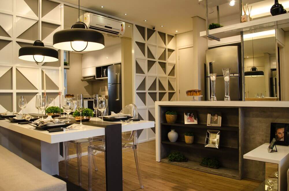 ar condicionado split - sala de jantar moderna integrada à cozinha americana