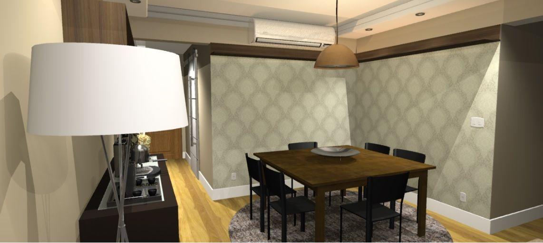 ar condicionado split - sala de jantar simples com papel de parede
