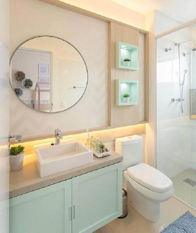 armário de banheiro planejado e decorado em tons pastéis Foto Arkpad