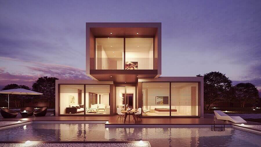 arquitetura moderna com casa pré fabricada
