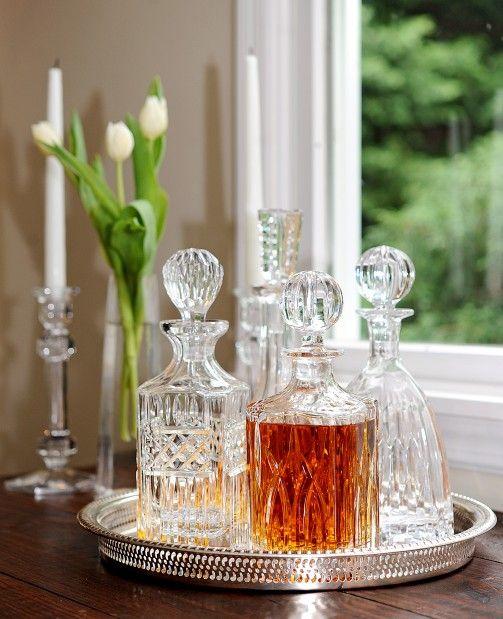 Bandeja espelhada para drinks de cristal