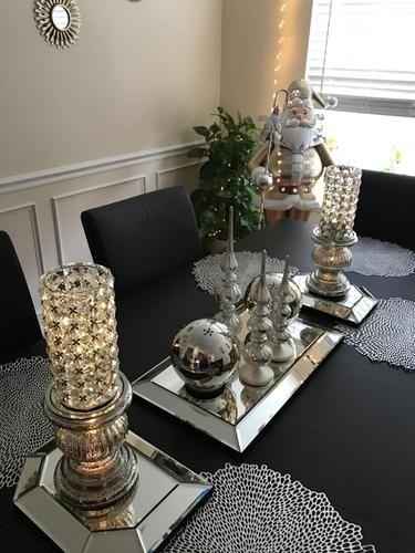 bandeja espelhada para mesa de jantar