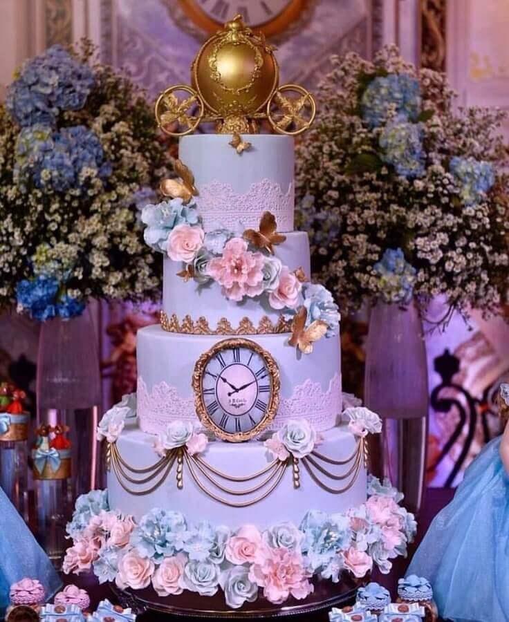 bolo decorado para temas para aniversário de 15 anos Cinderela Foto Pinterest