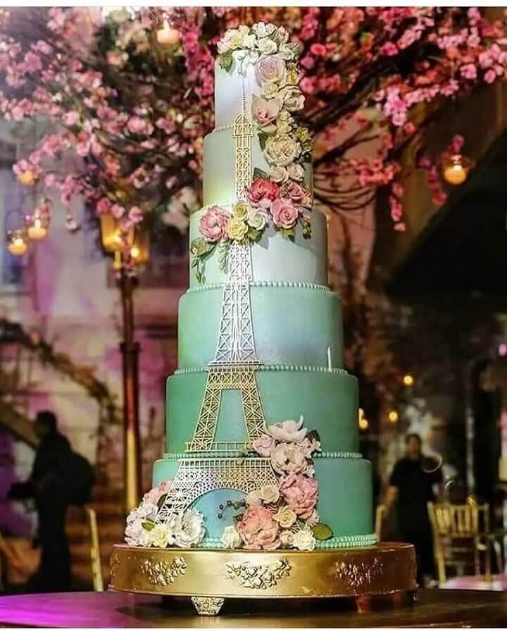 bolo decorado temas para aniversário de 15 anos Paris Foto Pinterest