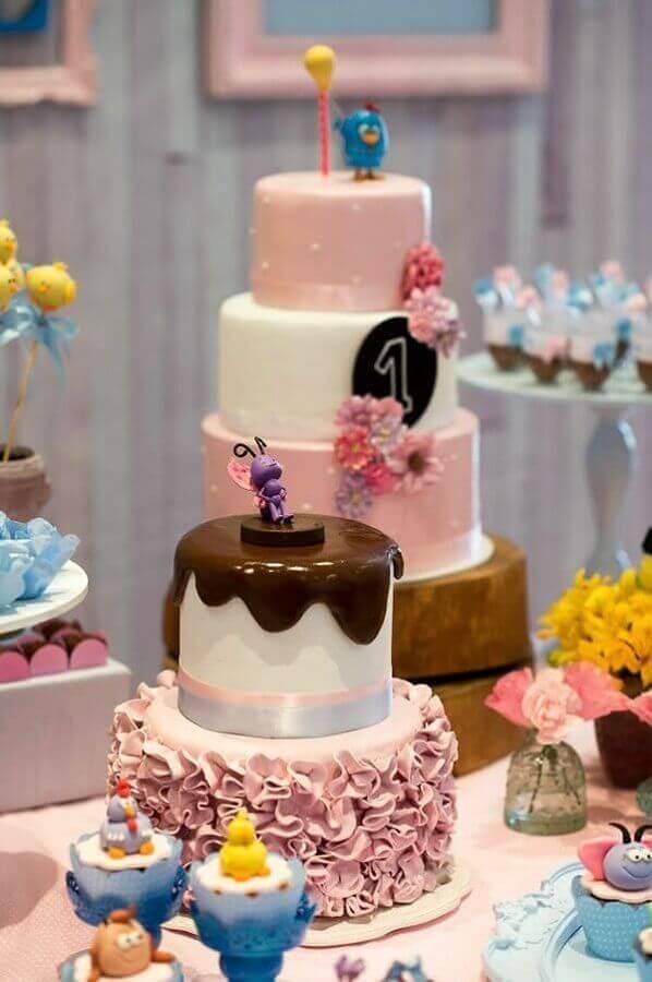 bolos decorados para festa da galinha pintadinha rosa Foto Pinosy
