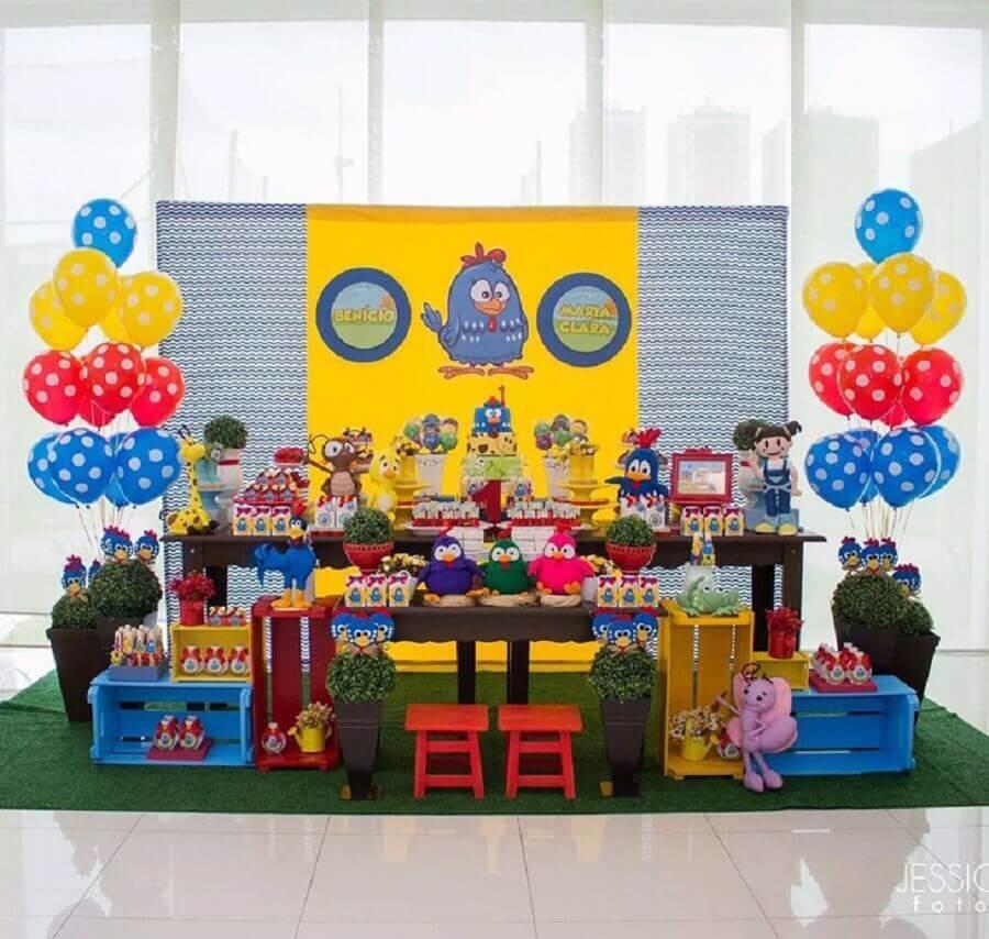bonecos para decoração de festa da galinha pintadinha Foto Ana Agostini Decorações