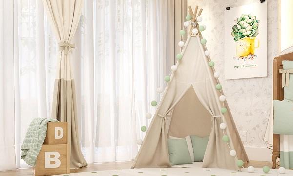 Cabaninha infantil em tom nude e com bolinhas em branco e verde