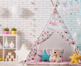 Cabaninha infantil com tecido estampado