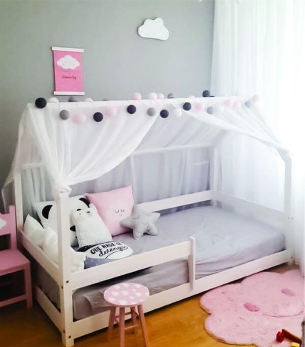 cortinas de voil para decorar a cama casinha