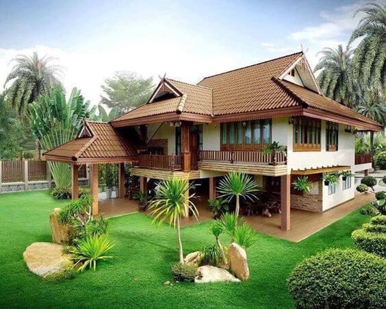 Casas com telhado colonial