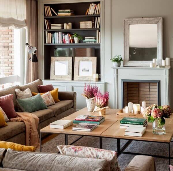 Centro de mesa na sala de estar