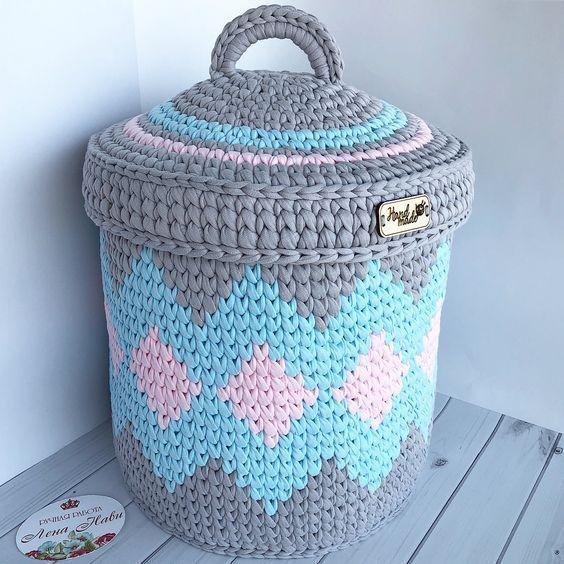 cesto de crochê - cesto crochê colorido com tampa